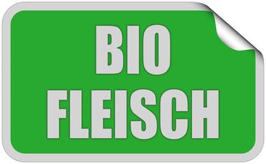 Sticker grün eckig curl oben BIO FLEISCH