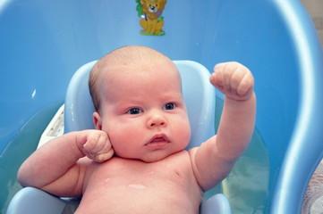 baby boy washing