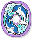 Colorful Number Zero With Cartoon Dolphins