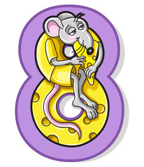 Colorful Number Eight With Cartoon Rat