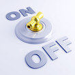 golden toggle switch with on-off sign on a light blue background