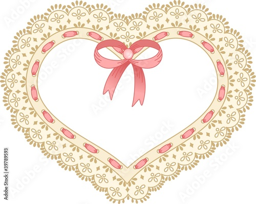 Heart embroidered on tape lace