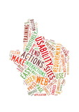 Web Usability word cloud hand shape