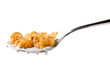 Tasty cornflakes in spoon