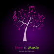 Logo Tree of Music, violet background # Vector