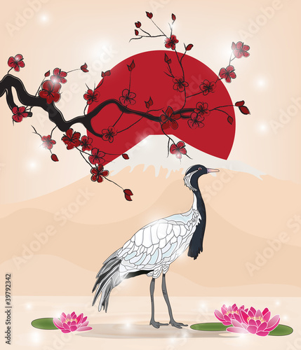 beautiful oriental picture with crane - 39792342