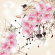 floral background with cherry blossom branch