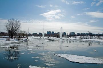 Blasting ice in winter, Ottawa