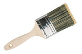 The wide wooden paint brush