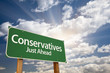 Conservatives Green Road Sign and Clouds