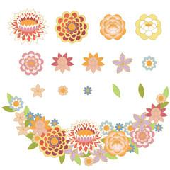 set of stylized oriental flowers