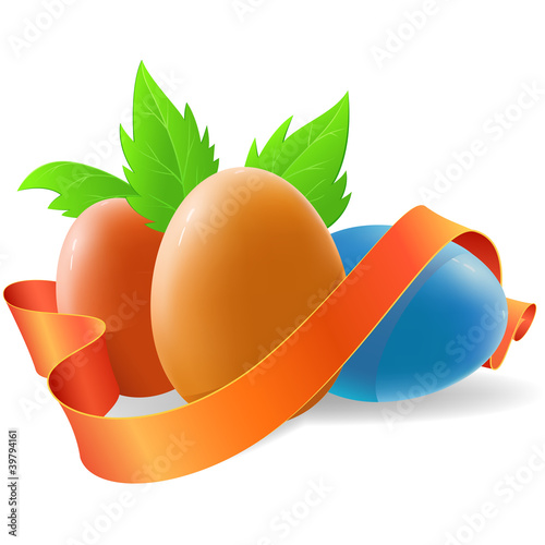 Easter egg with ribbon and green leaf
