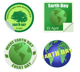 Earth Day stickers set poster