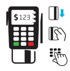 POS-terminal and credit card icons
