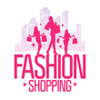 Fashion shopping design template with fashion girls