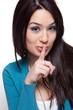 Cute funny woman keeping a secret