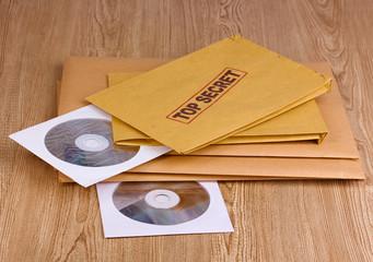 Envelopes with top secret stamp with CD disks