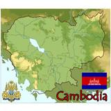 cambodia asia map flag emblem poster
