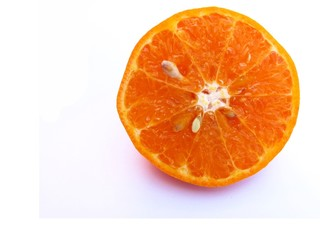 Half cut juicy orange