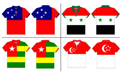 Flag Polo shirt designs international. Vector template