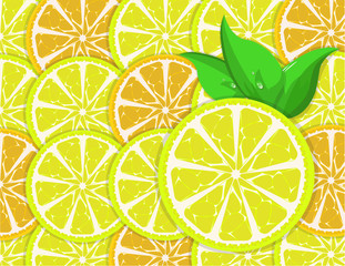 background of orange and lemon slices