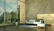 Wohndesign - Weisses Sofa vor Fenster