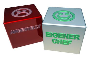3D Doppelwürfel - ANGESTELLT - EIGENER CHEF