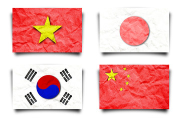 Asia flag set, paper craft isolated white.