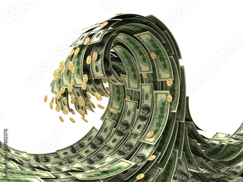 Dollars wave isolated on white