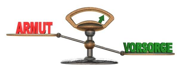 3D Waage - ARMUT - VORSORGE