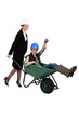 Woman pushing fellow worker in wheelbarrow