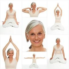 Aktive Seniorin macht Yoga und Meditation