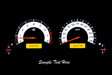 Closeup car speed meter