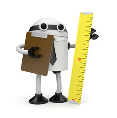 Robot with clipboard and ruler. Inspector
