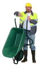 Workman with a wheelbarrow