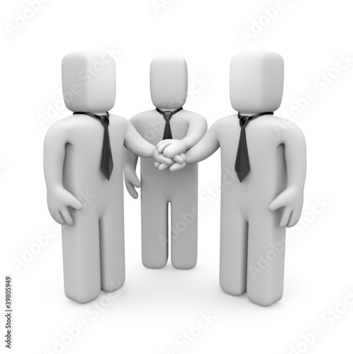 3d business people with hands on top of each other