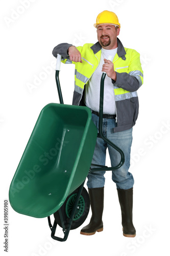 Workman with a wheelbarrow