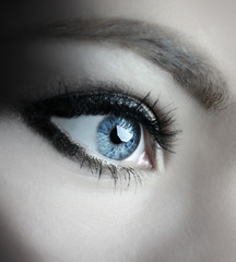 beautiful woman blue eyes macro shoot