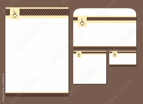 cafe  template blank, visiting card, notes, envelope