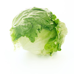 Fresh iceberg lettuce over white background