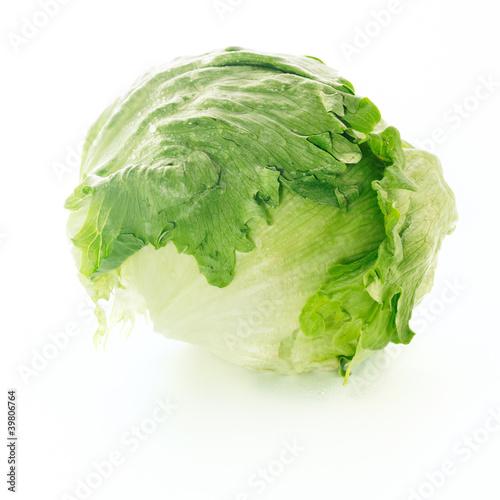Fresh iceberg lettuce over white background
