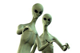 Two aliens on white background