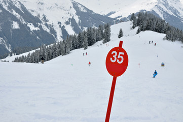 A red ski slope with number 35