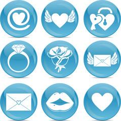 love icons on blue balls
