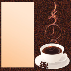 A cup of coffee, with coffee bean pattern as background