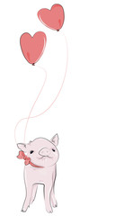 Adorable pet piggy, with heart balloons floating above it