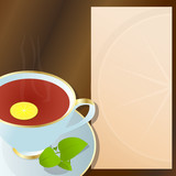 Hot cup of black tea, with lemon, and notepad for descriptions poster