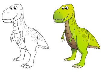 comic dinosaurier, tyrannosaurus rex, coloriert und outlines