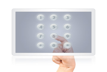 Hand pushing digital button on the white tablet.