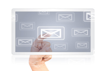 Hand pushing Mail on tablet screen.